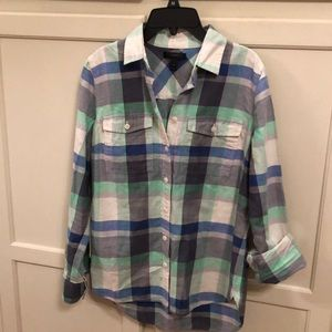 J.Crew Flannel Button Front Blouse Plaid Sz 2